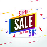 Super Sale special offer. 50 off discount baner. Vector promotion market banner for Sale.  stock illustration