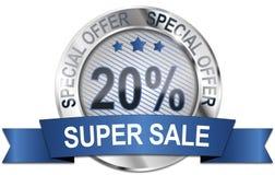 20% super sale special offer. Round silver super sale badge vector illustration