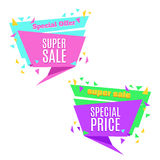 Super Sale and Special Price paper banner. Sale background. Sale tag. Sale poster. Sale vector. Special Offer. Shopping Banner. Template. 50% off. Vector Royalty Free Illustration