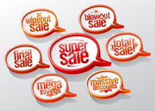Super sale speech bubbles signs set. Super and mega savings, massive discounts, final and total sale symbols Stock Photography