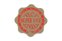 Super sale stamp on paper Stock Photography