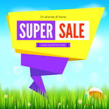 Super sale summer background, cut paper art style for ad banner. Grass, daisy flowers, ladybugs in grass on backdrop. From sky with clouds. Origami paper speech Stock Photo