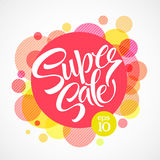 Super sale tag banner. Vector illustration Stock Photos