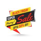 Super sale tag or label with 50% discount offer on white backgro. Und for Black Friday stock illustration