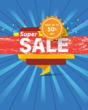 Super sale template banner special discount up to 50% off. Super sale template banner special discount up to 50% off,vector illustration design royalty free illustration