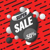 Super sale template. Sale and discounts. Up to 50 off Vector illustration. Promotion template design for print or web. Media, poster material Stock Photo