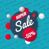 Super sale template. Sale and discounts. Up to 50 off Vector illustration. Promotion template design for print or web. Media, poster material Royalty Free Stock Photography