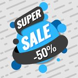 Super sale template. Vector illustration. Super sale template. Sale and discounts. Up to 50 off Vector illustration. Promotion template design for print or web Stock Photography