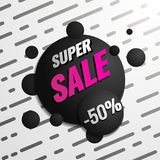 Super sale template. Sale and discounts. Up to 50 off Vector illustration. Promotion template design for print or web. Media, poster material Royalty Free Stock Images