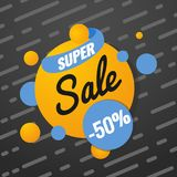 Super sale template. Sale and discounts. Up to 50 off Vector illustration. Promotion template design for print or web. Media, poster material Royalty Free Stock Image