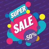 Super sale template. Sale and discounts. Up to 50 off Vector illustration. Promotion template design for print or web. Media, poster material Stock Photography