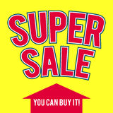 Super sale template on yellow background Royalty Free Stock Photography