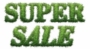 Super Sale text made of grass. Isolated on a black background. 3D illustration Royalty Free Illustration