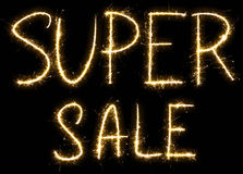 Super Sale text made of sparkler Stock Image