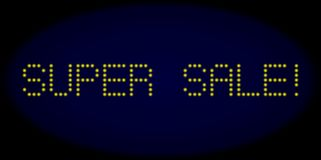 SUPER SALE! Led Style Text with Glowing Dots vector illustration