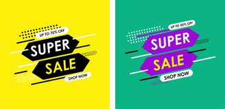 Super sale. up to 70% off sale, beautifull design. Vector illustration. Super Sale modern Banner design template stock illustration