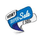 Super Sale up to 50 off. Vector illustration. Super Sale, this weekend special offer banner, up to 50 off. Vector illustration. shopping,  sign,  sketches Stock Photography