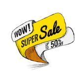 Super Sale up to 50 off. Vector illustration. Super Sale, this weekend special offer banner, up to 50 off. Vector illustration. shopping,  sign,  sketches Royalty Free Stock Photo