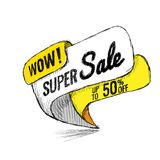 Super Sale up to 50 off. Vector illustration. Super Sale, this weekend special offer banner, up to 50 off. Vector illustration. shopping,  sign,  sketches Stock Image