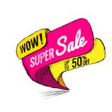 Super Sale up to 50 off. Vector illustration. Super Sale, this weekend special offer banner, up to 50 off. Vector illustration. shopping,  sign,  sketches Stock Photo