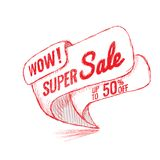 Super Sale up to 50 off. Vector illustration. Super Sale, this weekend special offer banner, up to 50 off. Vector illustration. shopping,  sign,  sketches Royalty Free Stock Photography