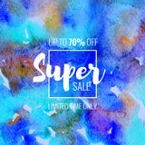 Super Sale up to 70 percent off. Seasonal discounts. Abstract colorful watercolor banner with hand drawn lettering. Super Sale up to 70 percent off. Limited Stock Photo