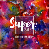Super Sale up to 70 percent off. Seasonal discounts. Abstract colorful watercolor banner with hand drawn lettering. Super Sale up to 70 percent off. Limited vector illustration