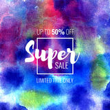 Super Sale up to 50 percent off. Seasonal discounts. Abstract colorful watercolor banner with hand drawn lettering. Super Sale up to 50 percent off. Limited Royalty Free Illustration
