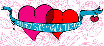 Super Sale at Valentine`s Day Royalty Free Stock Image