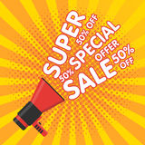 Super sale vector banner. Announcement megaphone Stock Images