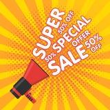 Super sale vector banner. Announcement megaphone Stock Images