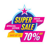 Super sale - vector banner concept illustration. Discount save up to 70% off advertising promotion layout. Special offer abstract. Creative badge on white Royalty Free Stock Images