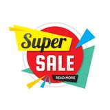 Super sale - vector creative banner illustration. Abstract concept discount promotion layout on white background. Special offer. Sticker. Design elements stock illustration