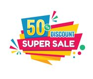 Super sale - vector creative banner illustration. Abstract concept discount 50% promotion layout on white background. Sticker. Super sale - vector creative stock illustration