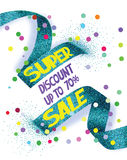 Super sale vector illustration with cut textured ribbon and confetti Stock Photography
