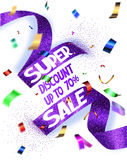 Super sale vector illustration with cut textured ribbon and flying confetti Stock Photo