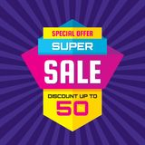 Super sale - vertical vector banner template concept illustration. Discount up to 50% abstract layout. Special offer. Design element Stock Images