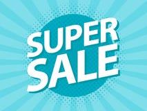 Super Sale vintage retro poster design template. Pop art flyer style  illustration Royalty Free Stock Photo