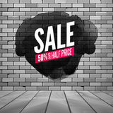 Super sale wall poster. Grunge sale background for store, shop. Promotion discount vector design poster with ink spot Stock Photos