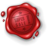 Super sale wax seal stamp realistic. Vector Illustration Of Super sale wax seal stamp realistic Stock Photos