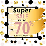 Super Sale. Web Banner with Gold Glitter on White Background. Trendy Vector Templates for fashion store Royalty Free Stock Image