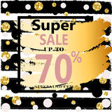 Super Sale. Web Banner with Gold Glitter on White Background. Trendy Vector Templates for fashion store Royalty Free Stock Photo