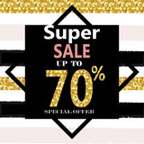 Super Sale. Web Banner with Gold Glitter. On White Background. Trendy Vector Templates for fashion store. Special Offer Sale Header royalty free stock photography