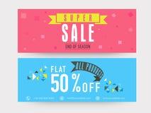 Super sale website header or banner set. Royalty Free Stock Images