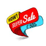 Super Sale up to 50 off. Vector illustration. Super Sale, this weekend special offer banner, up to 50 off. Vector illustration. shopping,  sign,  sketches Royalty Free Stock Images