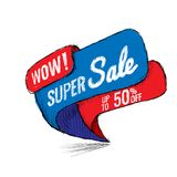 Super Sale up to 50 off. Vector illustration. Super Sale, this weekend special offer banner, up to 50 off. Vector illustration. shopping,  sign,  sketches Royalty Free Stock Image