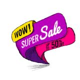 Super Sale up to 50 off. Vector illustration. Super Sale, this weekend special offer banner, up to 50 off. Vector illustration. shopping,  sign,  sketches Royalty Free Stock Photos