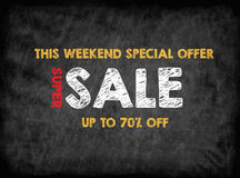Super Sale, this weekend special offer.Black board with texture, background Royalty Free Stock Photos