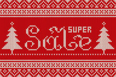 Super Sale Winter Holiday Knitted Pattern. Seamless Background Stock Images