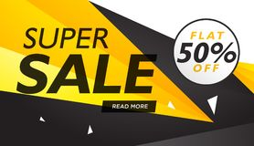 Super sale yellow and black voucher design template. Vector Royalty Free Stock Photos